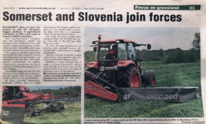 Blackdown Farm services and Slovenia SIP join forces newspaper article